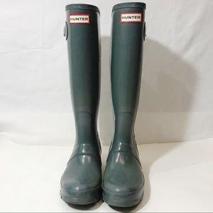 Tall Gray Glossy Hunter Boots